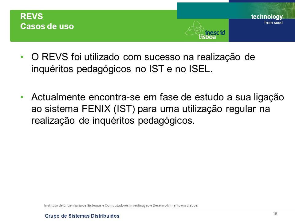 REVS Casos de uso O REVS foi utilizado com sucesso na realização de inquéritos pedagógicos no IST e no ISEL.