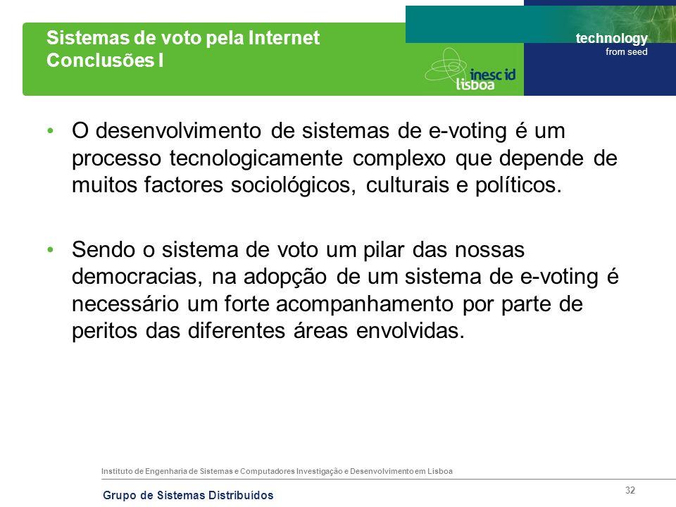 Sistemas de voto pela Internet Conclusões I