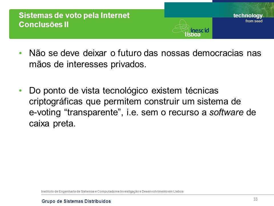 Sistemas de voto pela Internet Conclusões II