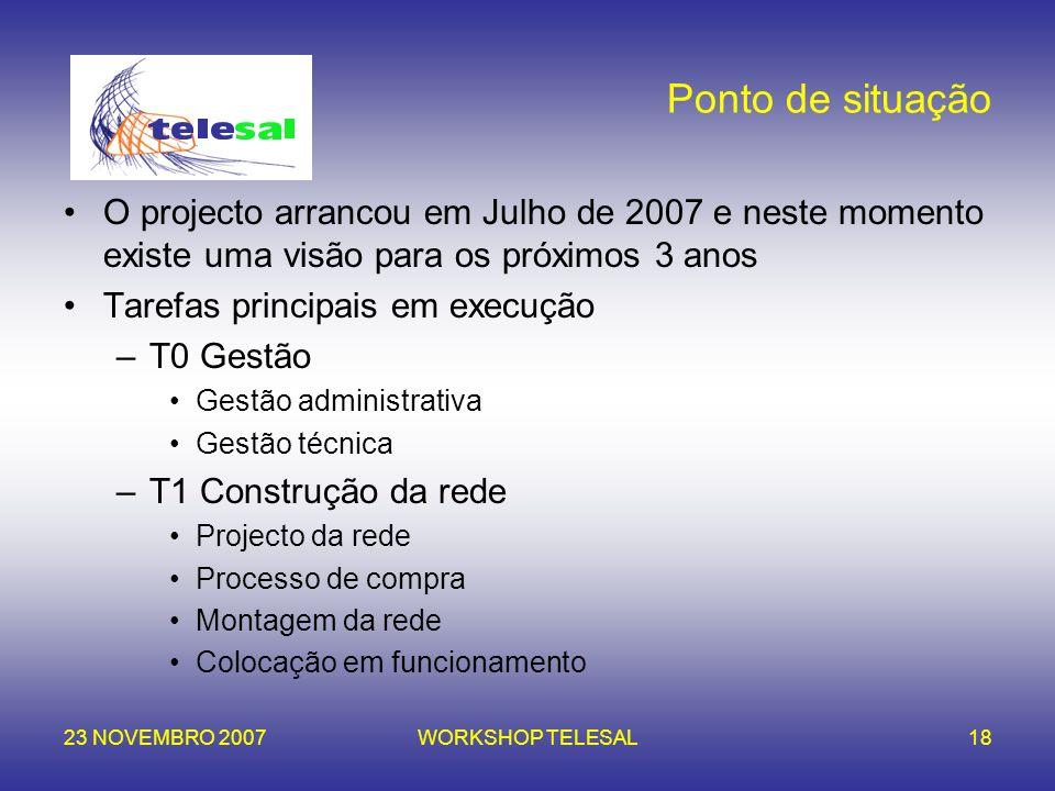 Ponto de situação O projecto arrancou em Julho de 2007 e neste momento existe uma visão para os próximos 3 anos.