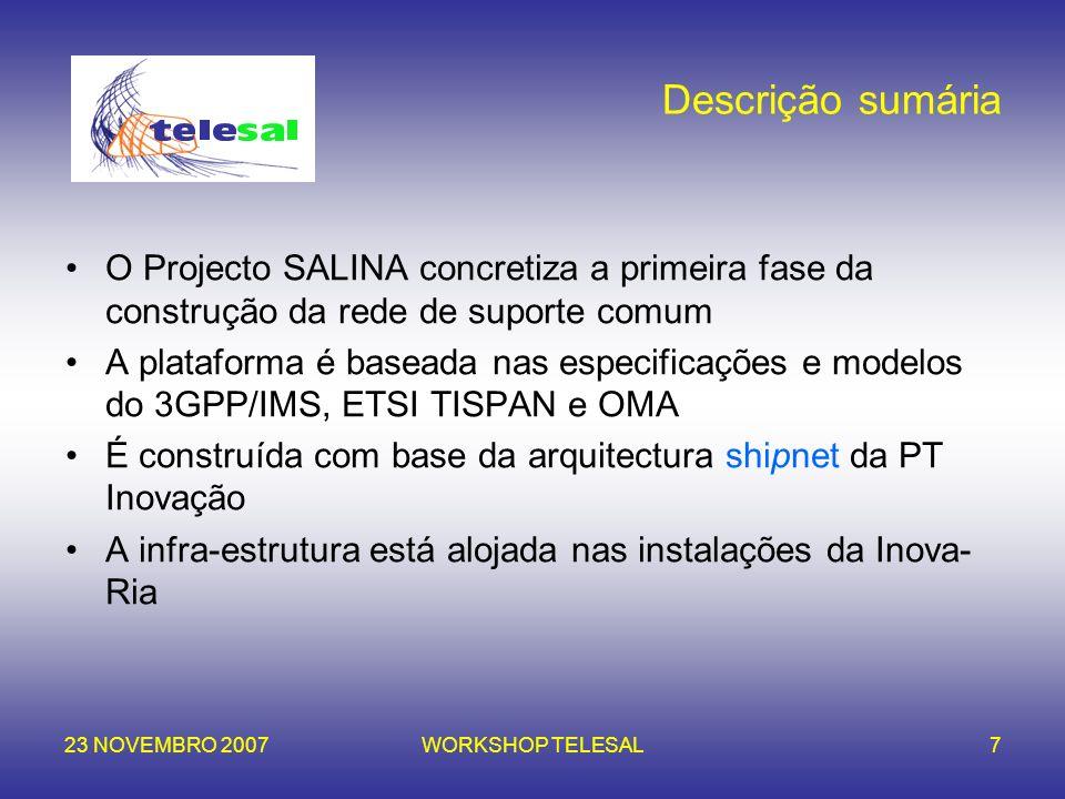Descrição sumária O Projecto SALINA concretiza a primeira fase da construção da rede de suporte comum.
