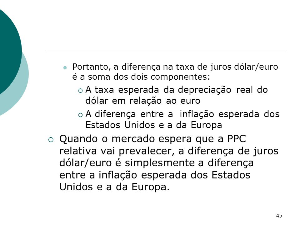 Portanto, a diferença na taxa de juros dólar/euro é a soma dos dois componentes: