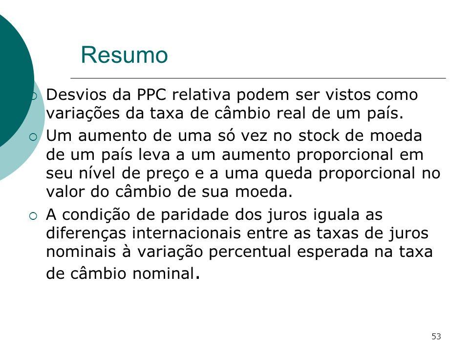 Resumo Desvios da PPC relativa podem ser vistos como variações da taxa de câmbio real de um país.