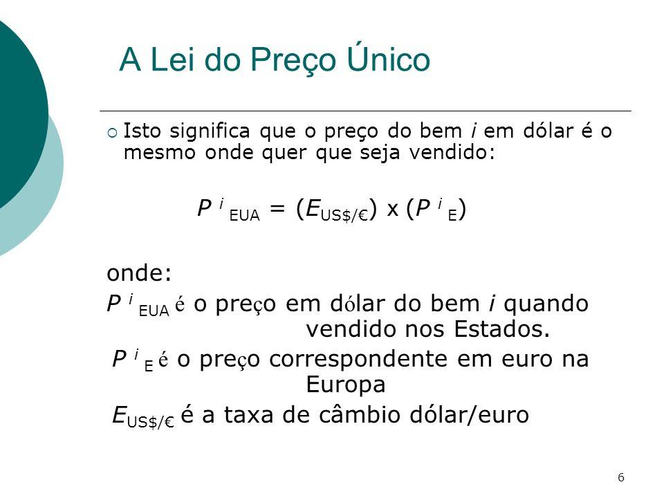 P i EUA = (EUS$/€) x (P i E)