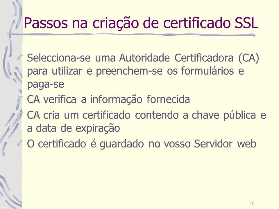 Passos na criação de certificado SSL