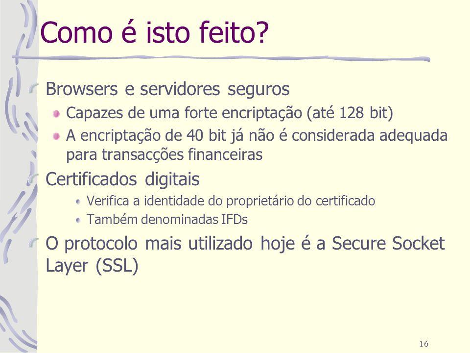 Como é isto feito Browsers e servidores seguros Certificados digitais