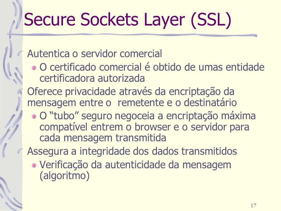 Secure Sockets Layer (SSL)