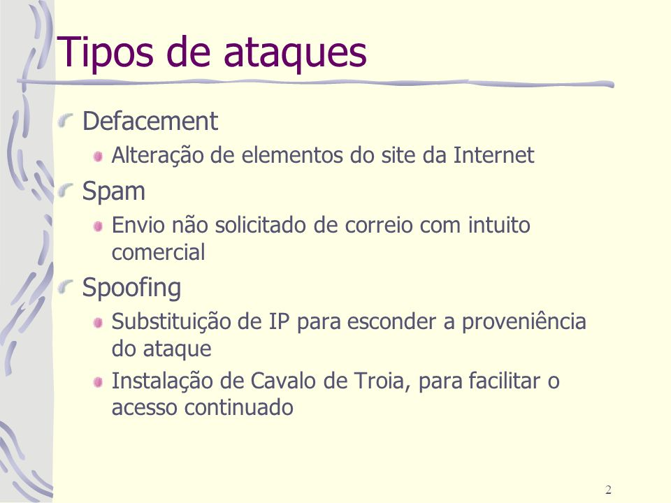 Tipos de ataques Defacement Spam Spoofing