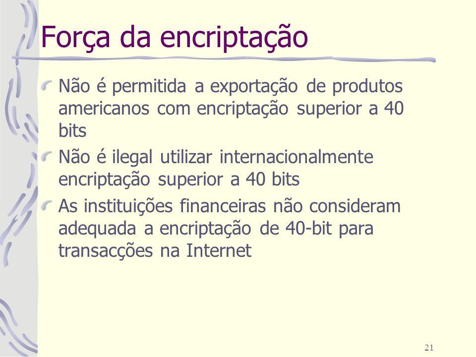 Força da encriptação Não é permitida a exportação de produtos americanos com encriptação superior a 40 bits.