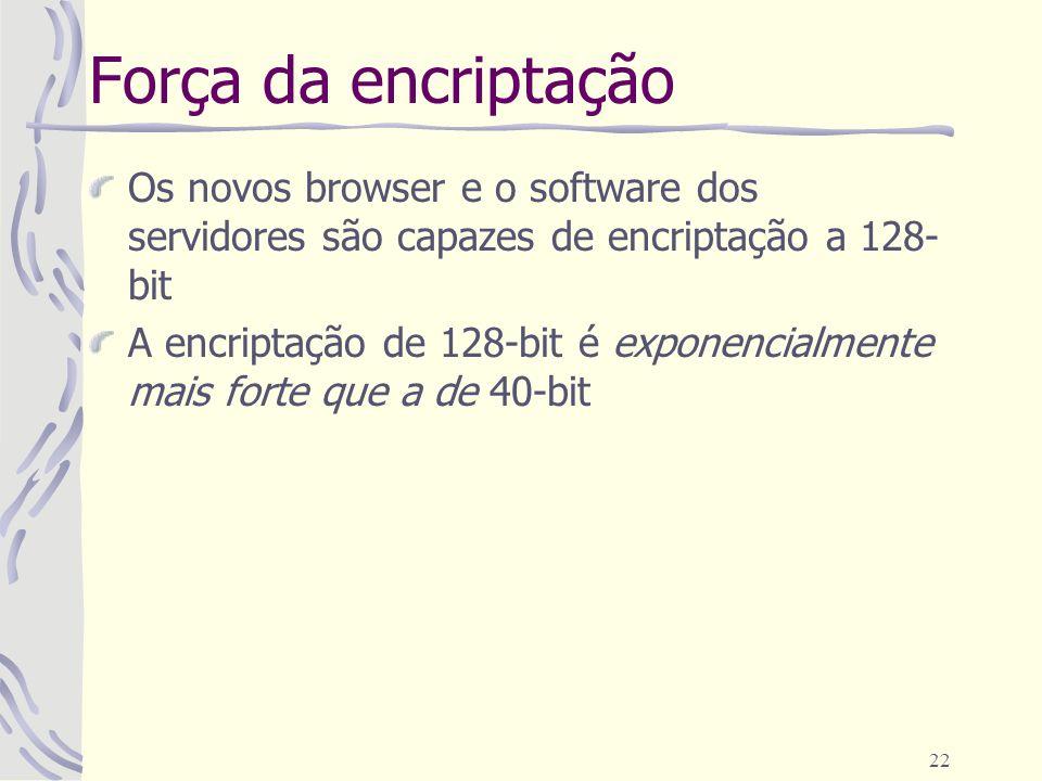 Força da encriptação Os novos browser e o software dos servidores são capazes de encriptação a 128-bit.