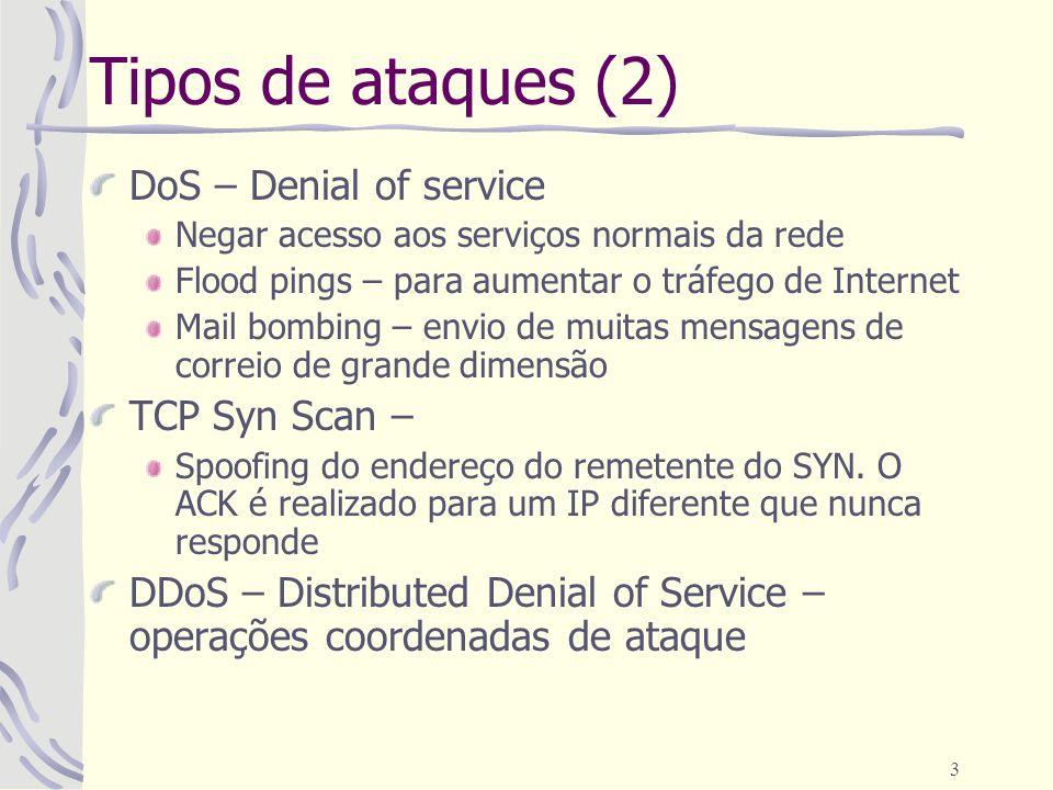 Tipos de ataques (2) DoS – Denial of service TCP Syn Scan –