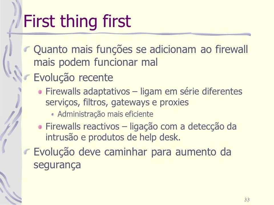 First thing first Quanto mais funções se adicionam ao firewall mais podem funcionar mal. Evolução recente.