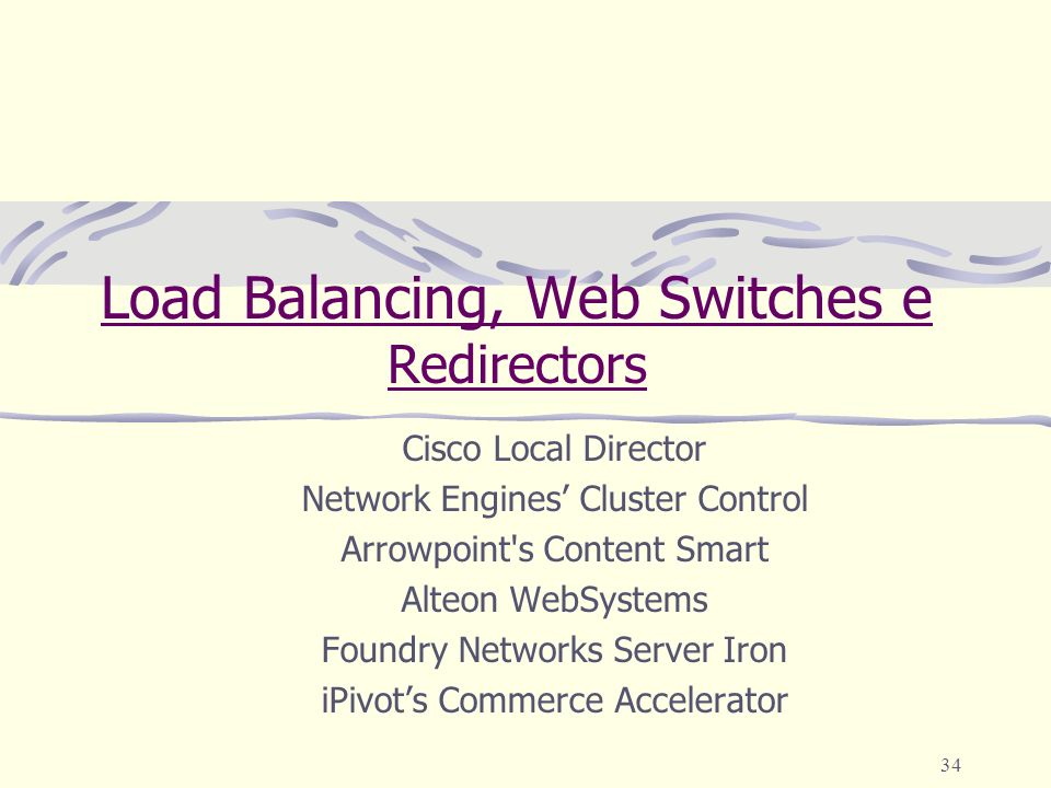 Load Balancing, Web Switches e Redirectors