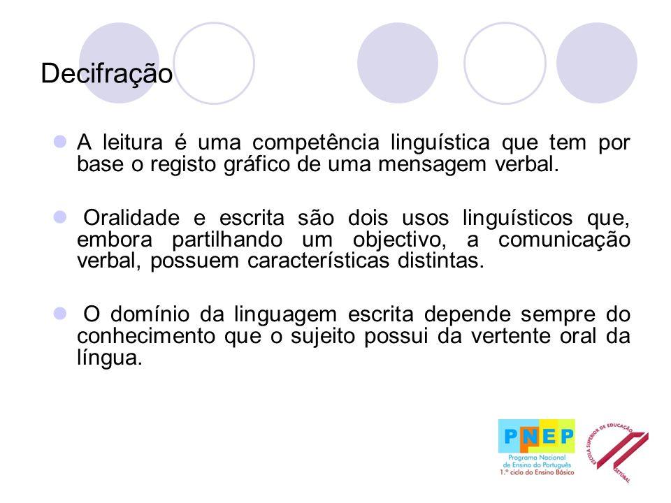 Decifração A leitura é uma competência linguística que tem por base o registo gráfico de uma mensagem verbal.