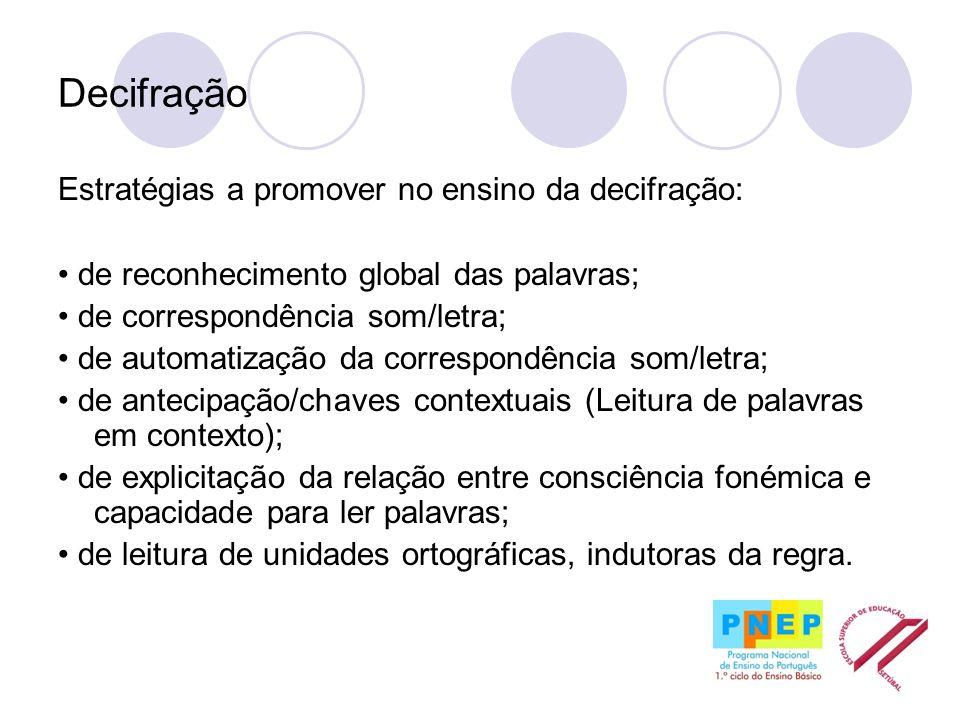 Decifração Estratégias a promover no ensino da decifração: