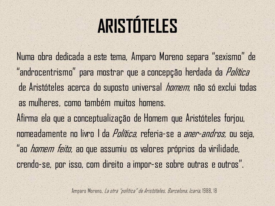 ARISTÓTELES Numa obra dedicada a este tema, Amparo Moreno separa sexismo de. androcentrismo para mostrar que a concepção herdada da Política.