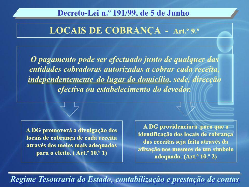 LOCAIS DE COBRANÇA - Art.º 9.º