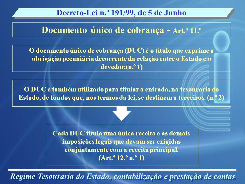 Documento único de cobrança - Art.º 11.º