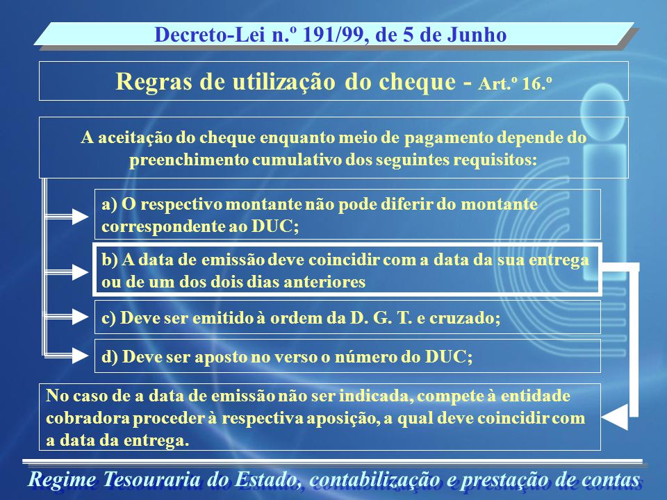 Regras de utilização do cheque - Art.º 16.º