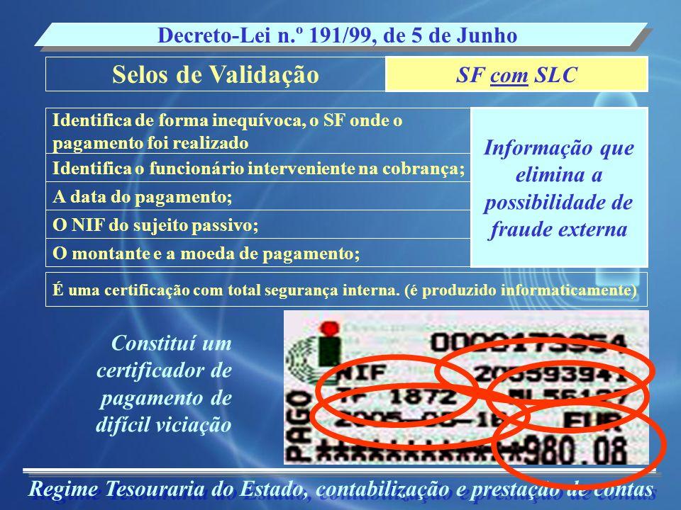 Selos de Validação Decreto-Lei n.º 191/99, de 5 de Junho SF com SLC