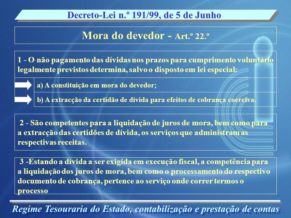 Mora do devedor - Art.º 22.º Decreto-Lei n.º 191/99, de 5 de Junho