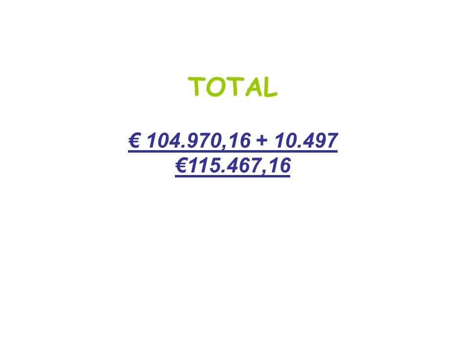 TOTAL € 104.970,16 + 10.497 €115.467,16