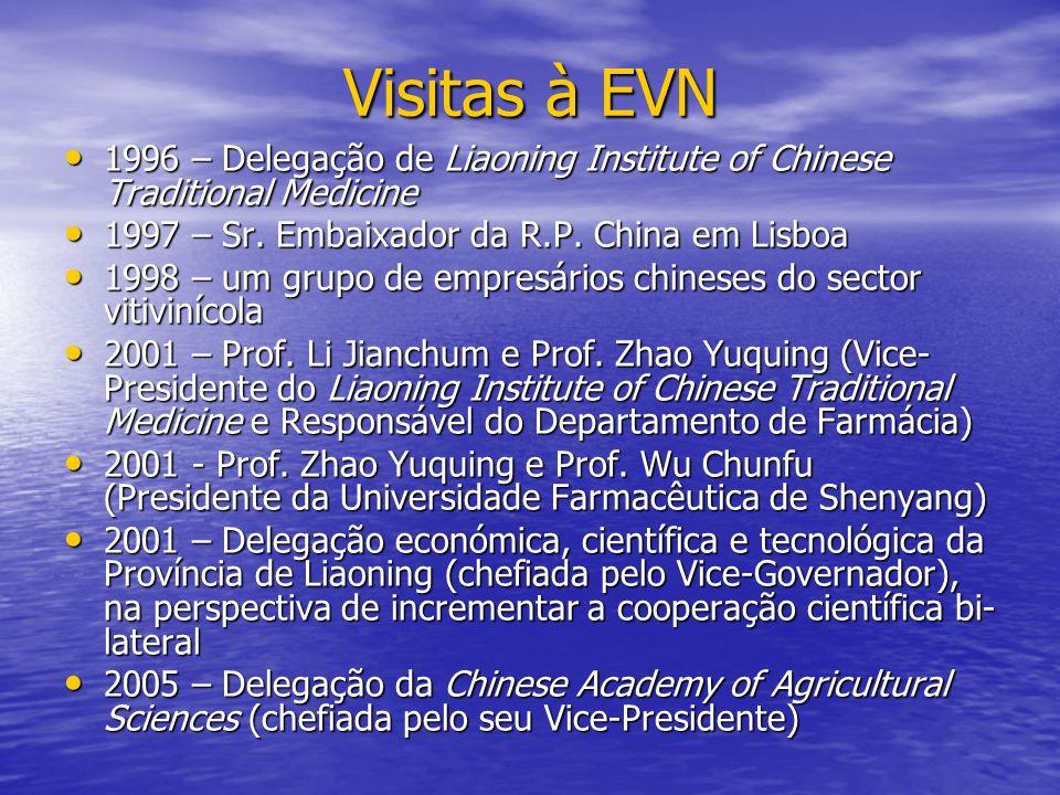 Visitas à EVN 1996 – Delegação de Liaoning Institute of Chinese Traditional Medicine. 1997 – Sr. Embaixador da R.P. China em Lisboa.