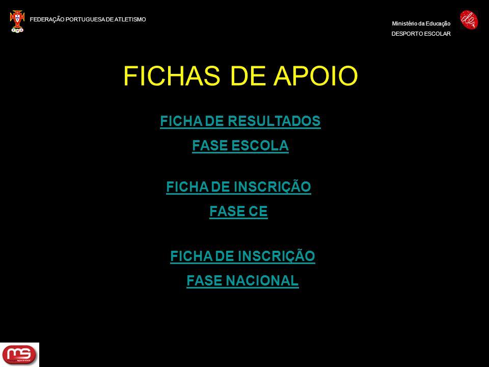 FICHAS DE APOIO FICHA DE RESULTADOS FASE ESCOLA FICHA DE INSCRIÇÃO