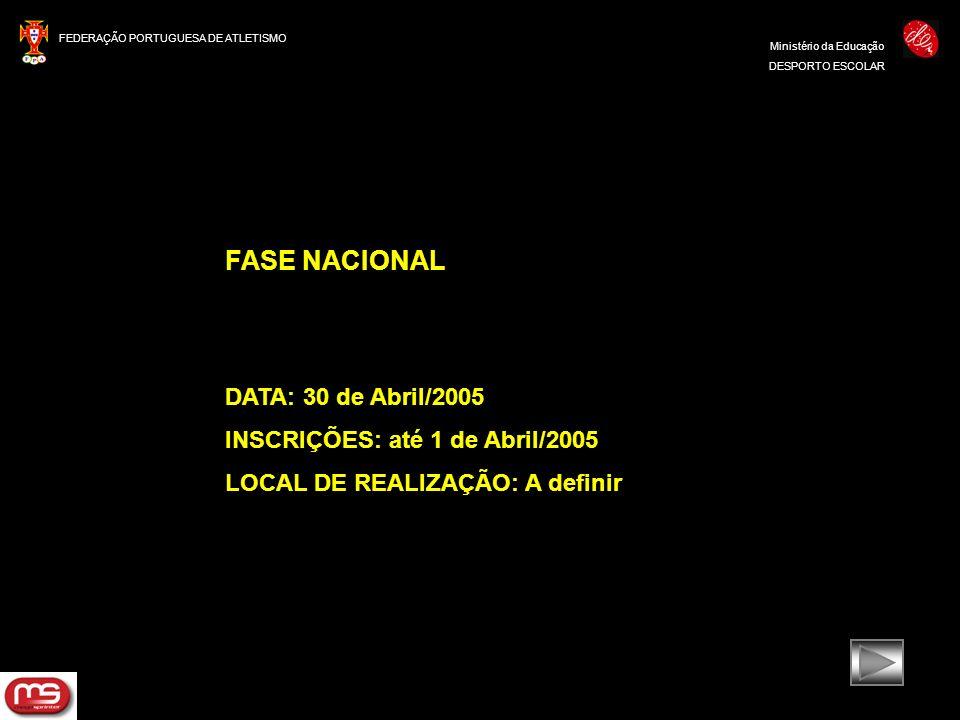 FASE NACIONAL DATA: 30 de Abril/2005 INSCRIÇÕES: até 1 de Abril/2005