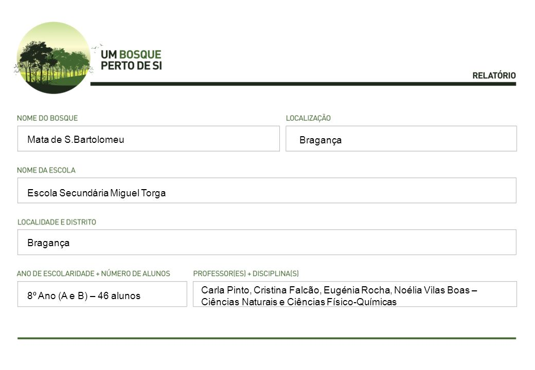 Mata de S.Bartolomeu Bragança. Escola Secundária Miguel Torga. Bragança.