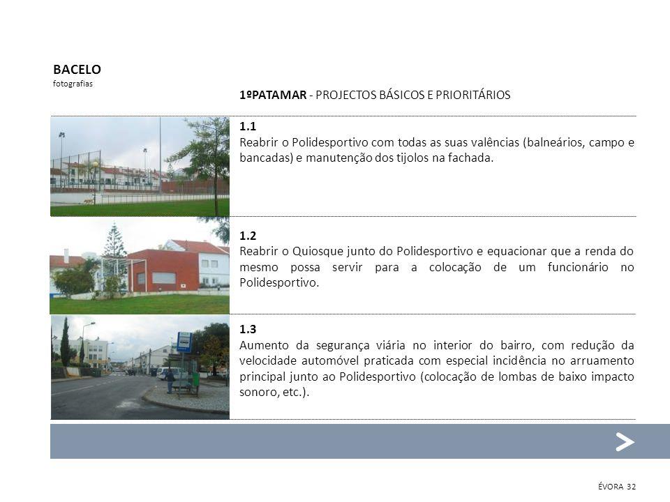 BACELO 1ºPATAMAR - PROJECTOS BÁSICOS E PRIORITÁRIOS 1.1