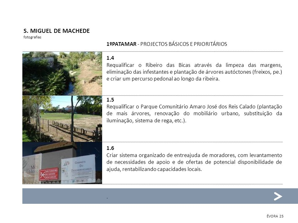 S. MIGUEL DE MACHEDE 1ºPATAMAR - PROJECTOS BÁSICOS E PRIORITÁRIOS 1.4