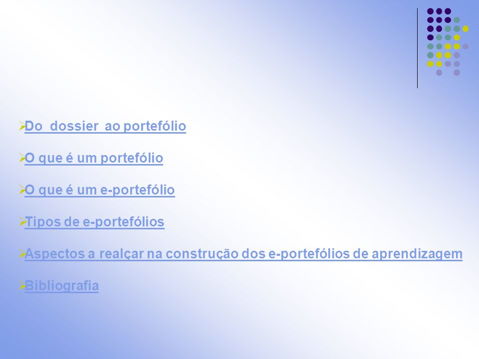 Do dossier ao portefólio