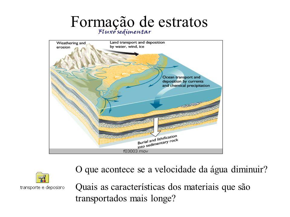 Formação de estratos O que acontece se a velocidade da água diminuir