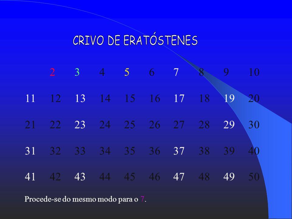 CRIVO DE ERATÓSTENES 2. 3. 4. 5. 6. 7. 8. 9. 10. 11. 12. 13. 14. 15. 16. 17. 18. 19.