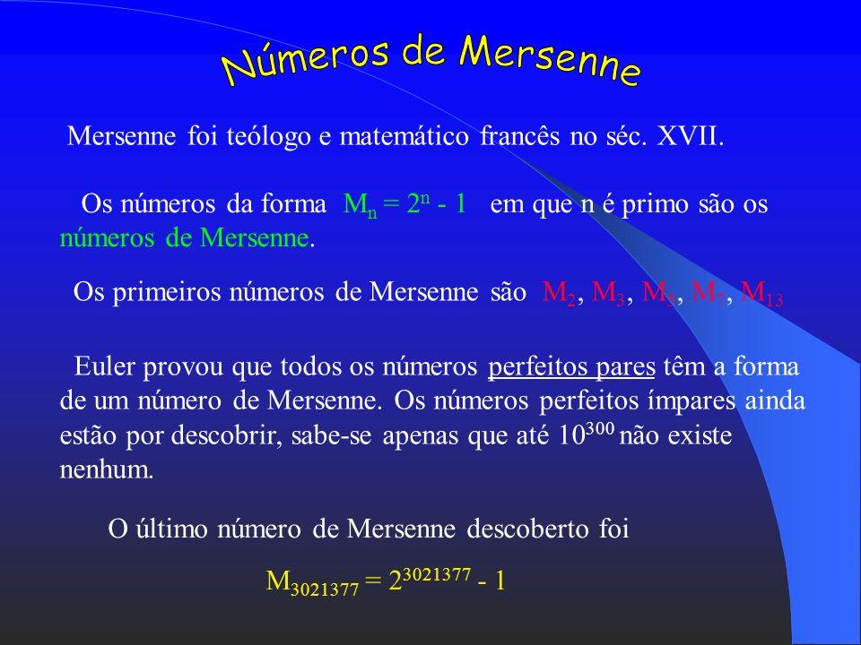 Números de Mersenne Mersenne foi teólogo e matemático francês no séc. XVII.