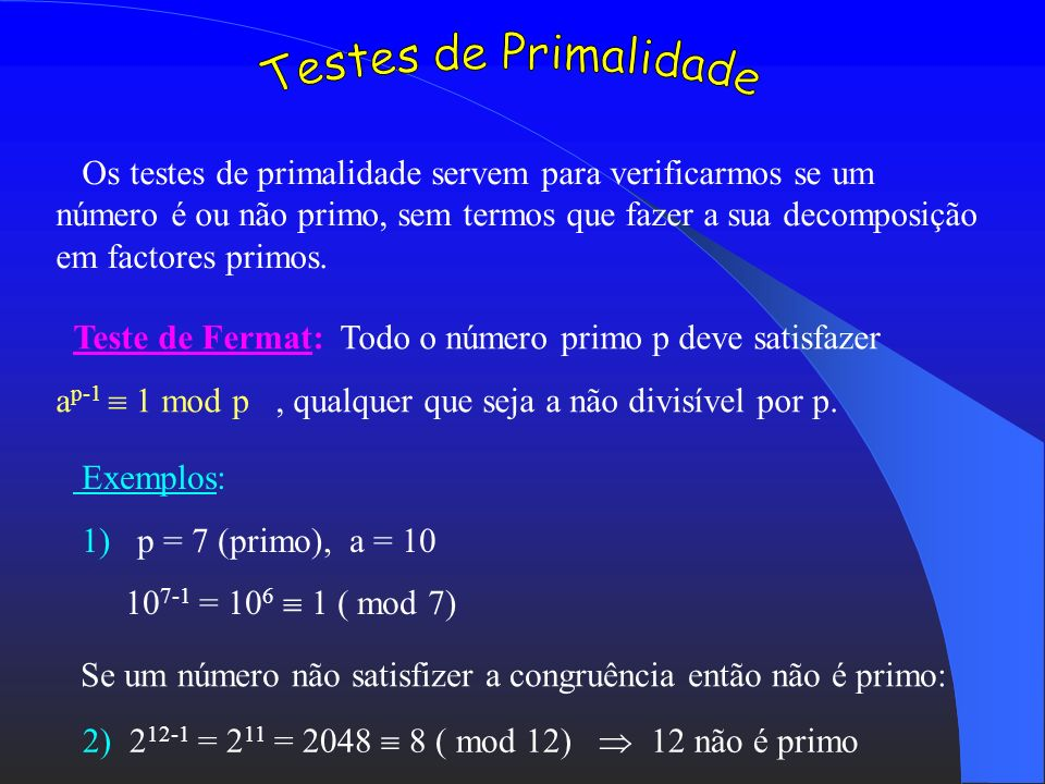 Testes de Primalidade