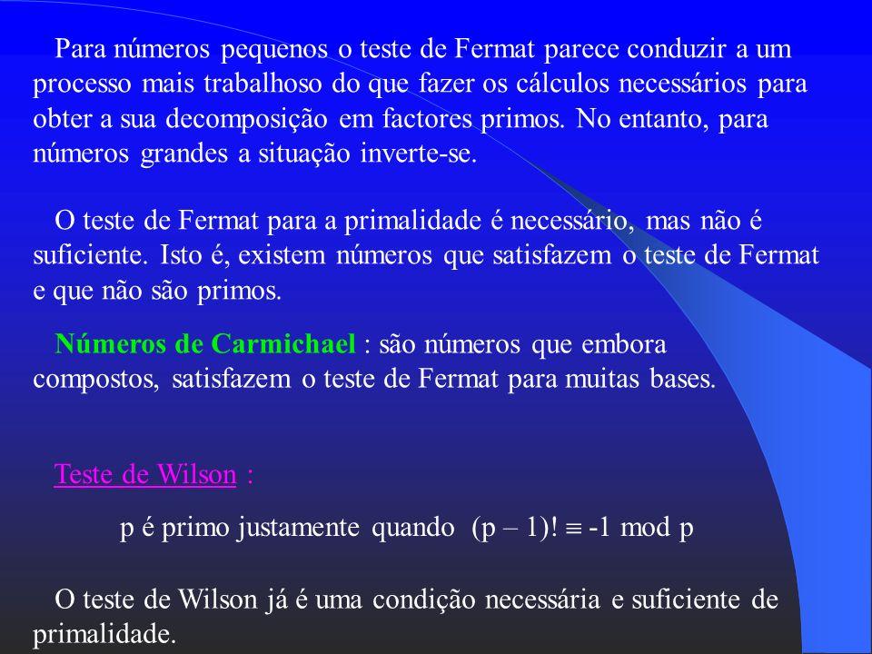 Para números pequenos o teste de Fermat parece conduzir a um processo mais trabalhoso do que fazer os cálculos necessários para obter a sua decomposição em factores primos. No entanto, para números grandes a situação inverte-se.