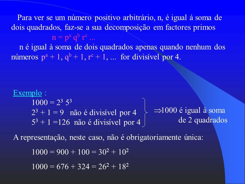 Para ver se um número positivo arbitrário, n, é igual á soma de dois quadrados, faz-se a sua decomposição em factores primos