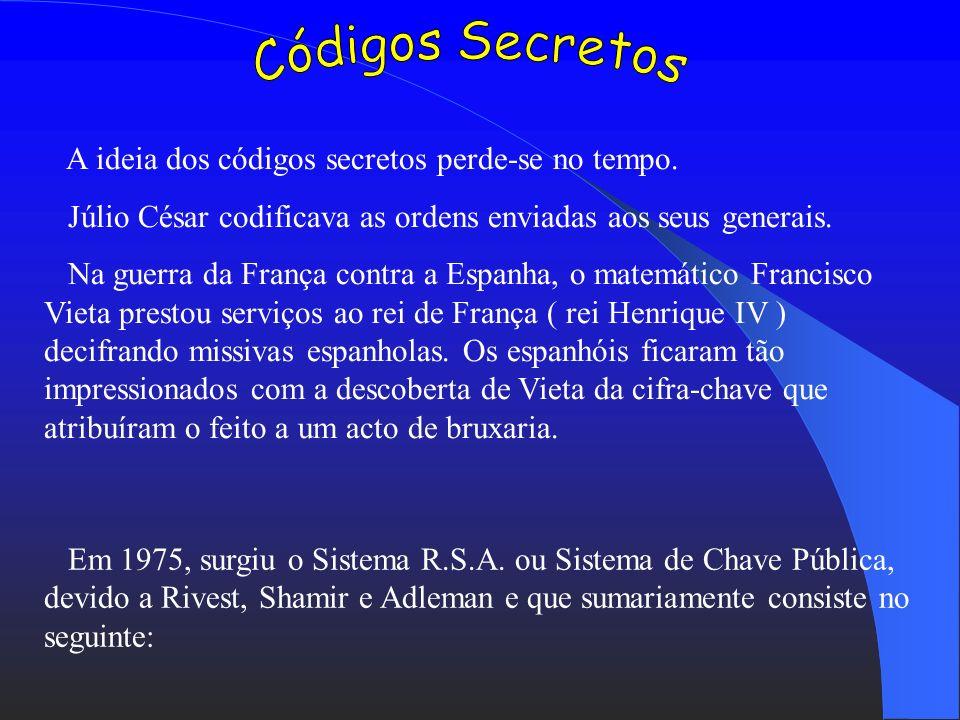 Códigos Secretos A ideia dos códigos secretos perde-se no tempo.