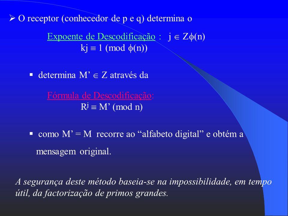 O receptor (conhecedor de p e q) determina o