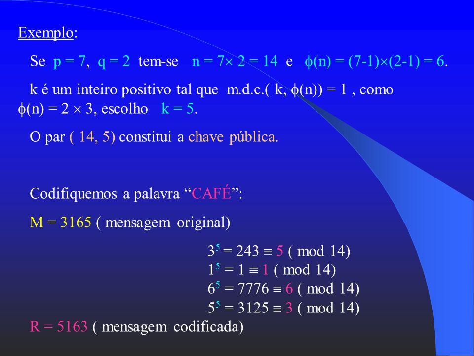 Exemplo:Se p = 7, q = 2 tem-se n = 7 2 = 14 e (n) = (7-1)(2-1) = 6.