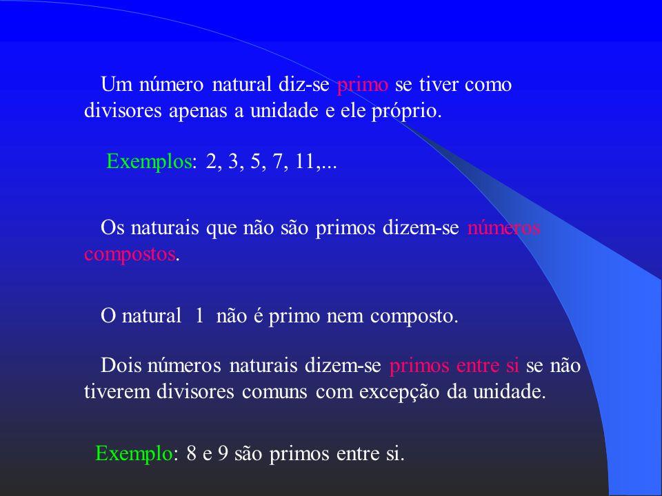 Um número natural diz-se primo se tiver como divisores apenas a unidade e ele próprio.