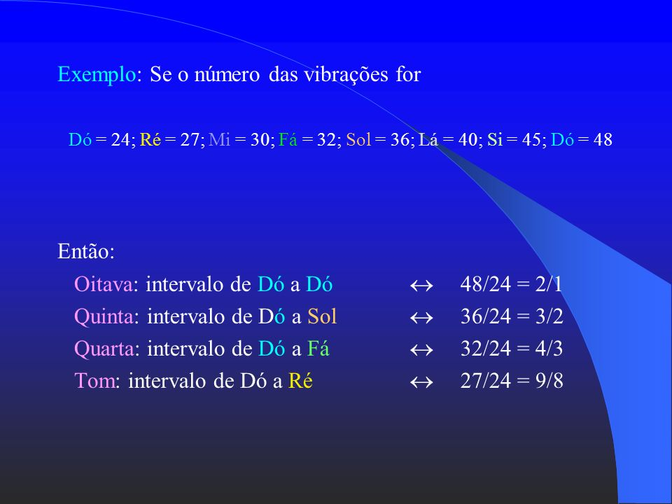 Exemplo: Se o número das vibrações for