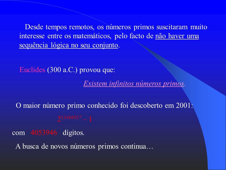 Desde tempos remotos, os números primos suscitaram muito interesse entre os matemáticos, pelo facto de não haver uma sequência lógica no seu conjunto.