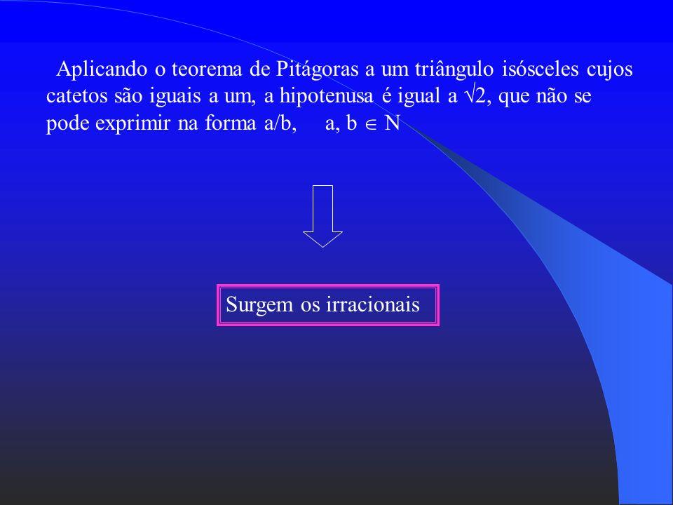Aplicando o teorema de Pitágoras a um triângulo isósceles cujos catetos são iguais a um, a hipotenusa é igual a 2, que não se pode exprimir na forma a/b, a, b  N