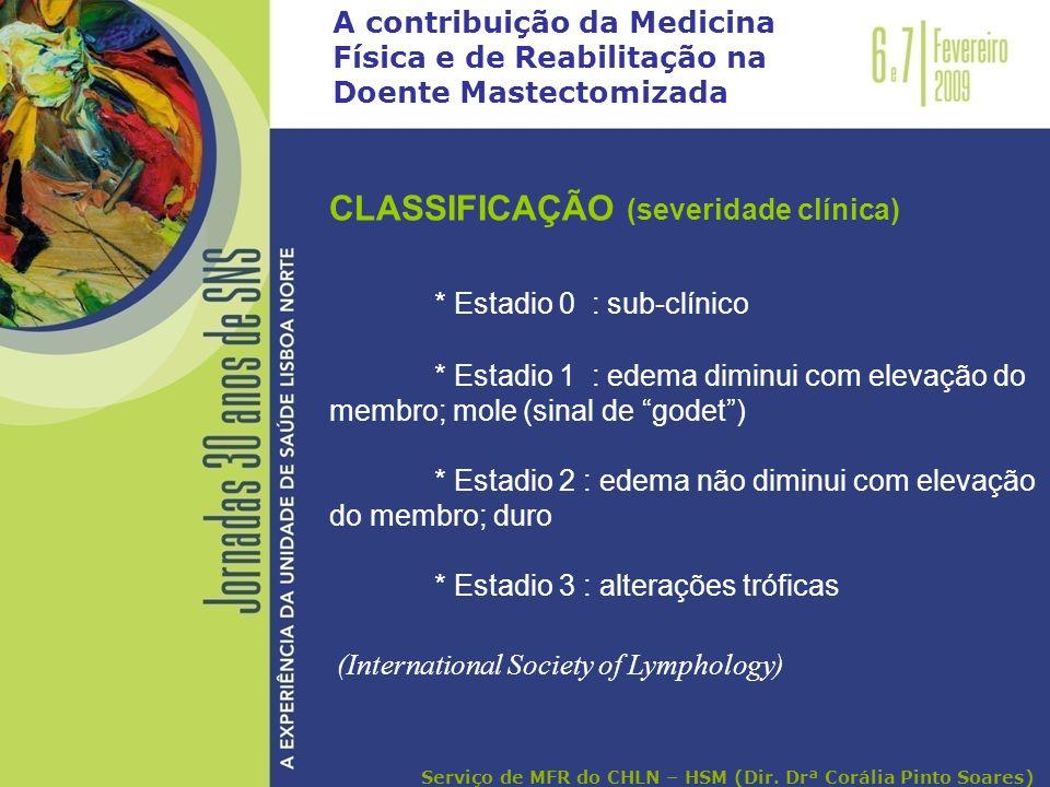 CLASSIFICAÇÃO (severidade clínica) * Estadio 0 : sub-clínico