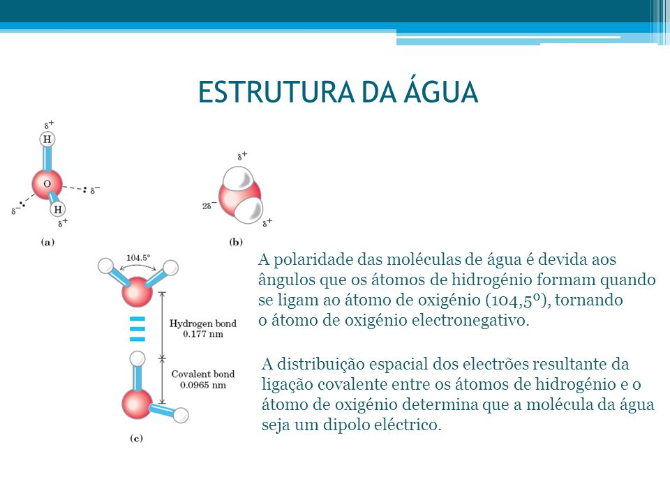 ESTRUTURA DA ÁGUA A polaridade das moléculas de água é devida aos