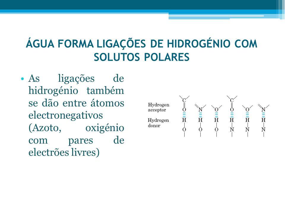 ÁGUA FORMA LIGAÇÕES DE HIDROGÉNIO COM SOLUTOS POLARES