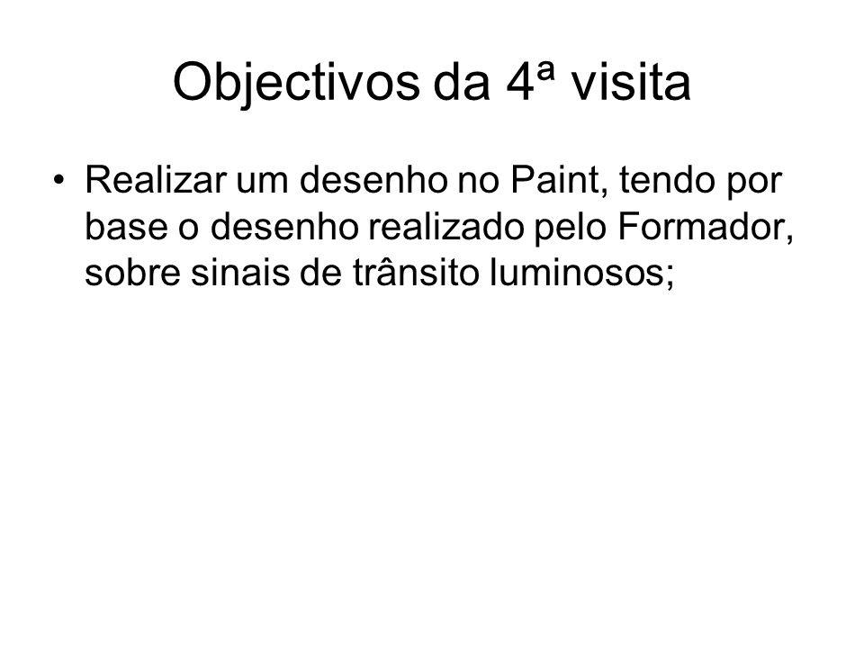 Objectivos da 4ª visitaRealizar um desenho no Paint, tendo por base o desenho realizado pelo Formador, sobre sinais de trânsito luminosos;